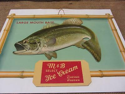 Vintage 3-D M & B Ice Cream Sign Large Mouth Bass   Antique Old Milk Dairy 9563