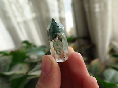 8g NATURAL green ghost phantom pyramid QUARTZ CRYSTAL POINT specimen #c35