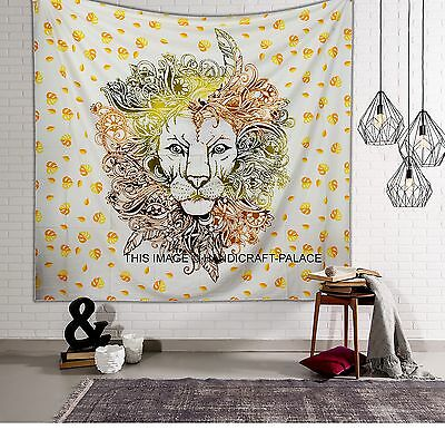 Indian Tapestry Wall Hanging Lion Mandala Throw Hippie Bedspread Queen Bed Cover