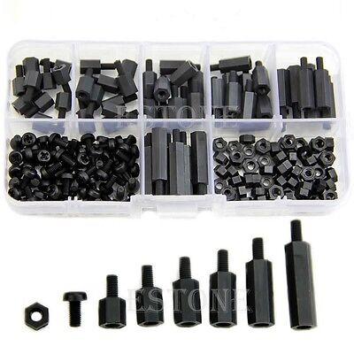 M3 Nylon Black Hex M-F Spacers/ Screws/ Nuts Assorted Kit, Standoff FAS