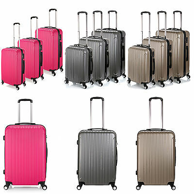 3PC Lightweight 4 Wheel ABS Hard Shell Luggage Set Suitcase Cabin Travel Bag