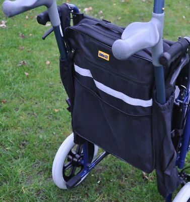 Black Mobility Scooter Backrest Bag With Crutch Sleeves Disability Aid