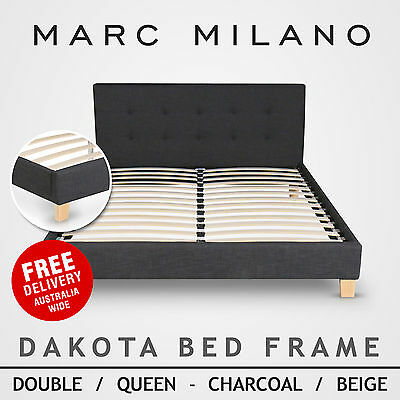 New Double/Queen Size Bed Frame Luxury Charcoal Grey or Natural Fabric Steel Bar