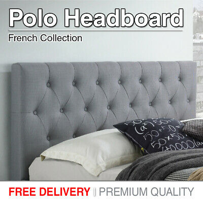 Double Queen King Headboard Bed Head Luxury Charcoal Grey Upholstered Fabric New