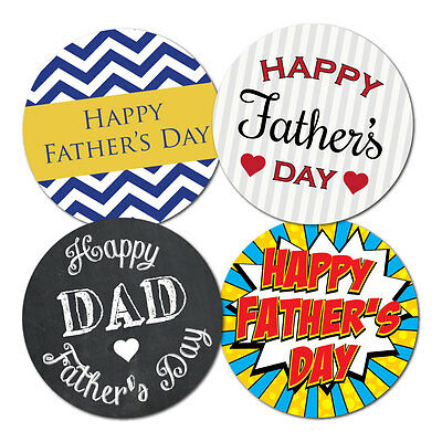 Happy Fathers Day Stickers - 4 designs - crafts, cards, shops - 60mm, 36 in pack