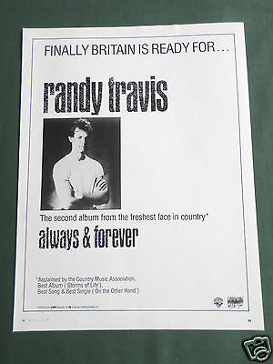 Randy Travis - Magazine Clipping / Cutting- 1 Page Advert