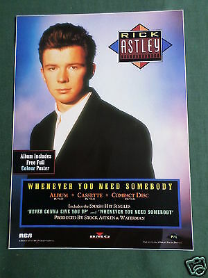 Rick Astley - Magazine Clipping / Cutting- 1 Page Advert