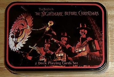 THE NIGHTMARE BEFORE CHRISTMAS 2 DECK Playing Cards with COLLECTIBLE TIN NEW
