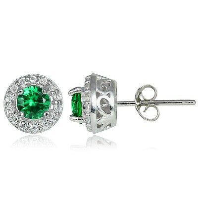 Sterling Silver 0.35ct Created Emerald & White Topaz 4mm Halo Stud Earrings