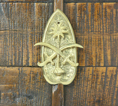 ARABIAN MIDDLE EASTERN BRASS DOOR KNOCKER 1970s Persian Crossed Scimitar Ottoman