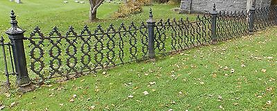 Antique Cast Iron Ornate Fence With 30 Posts Garden 150+ Feet VTG Gothic 3845-14