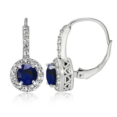 Sterling Silver 1.2ct Created Blue Sapphire & Topaz Round Leverback Earrings