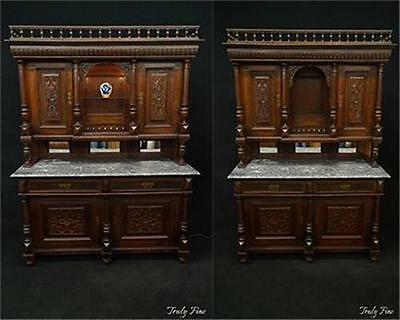 European Sideboard Bar Buffet Marble Top Mirrored Back Tiger Grained Walnut