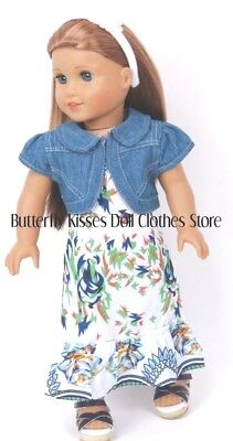 Denim Jacket 18 in Doll Clothes Fits American Girl Flower Maxi Dress