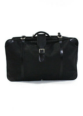 ALVIERO MARTINI Black Leather Nylon Embossed 1A Classe Suitcase