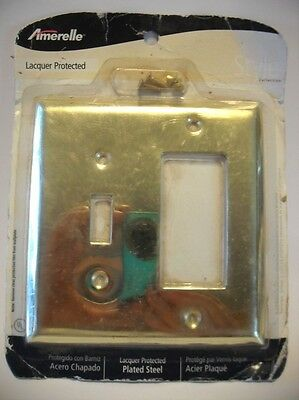 NEW BRASS Plated Steel OUTLET Plug Wall SWITCH Combo COVER Plate NIP