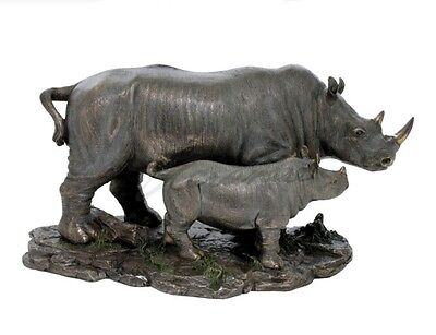 "13.75"" Rhinoceros & Baby Rhino Nature Wildlife Animal Statue Wild Sculpture"