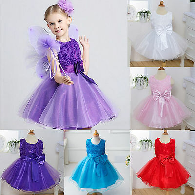 Gown Wedding Prom Baby Bridesmaid Flower Girls Kids Princess Party Lace Dress