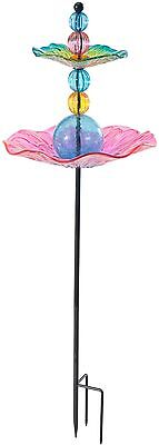 Bird Feeder Bath Garden Stake Outdoor Yard Lawn Decoration Glass Free Standing