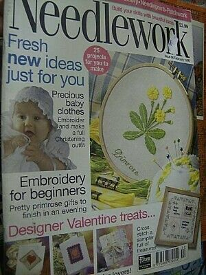 Needlework UK February 1998 Magazine #66 & 6 Charms, Primroses, Devore Scarf