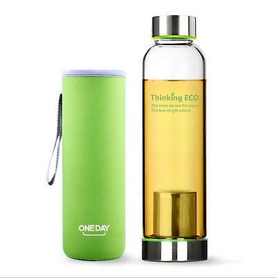 ONEDAY 550ML Water Glass Bottle Sports Travel Mug Cup w/Tea Infuser Cover