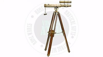 New Vintage Nautical Brass Double Barrel Telescope Spyglass With Tripod Stand