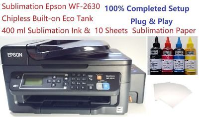Sublimation Epson WF-2630 Upgraded Main Board Chipless w Tank 400ml ink 10 Paper