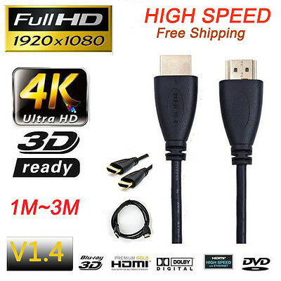 Premium HDMI Cable For Bluray 3D DVD PS3 TV XBOX LCD HD TV 1080P 1M/1.5M/2M/3M