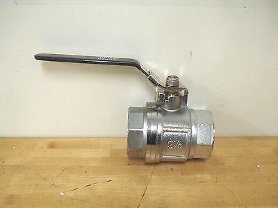 "2-1/2"" Ball Valve, FNPT x FNPT Chrome-Plated Brass"