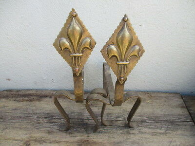 Vintage Brass Andirons Firedogs French Fleur di lis Design Antique Fireside Old