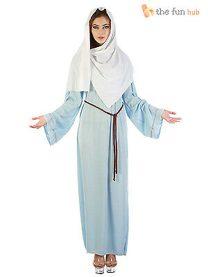 Adult Ladies Virgin Mary Costume Nativity Christmas Fancy Dress Outfit Size 8-18