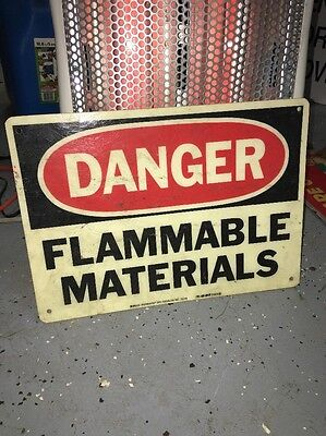 Vintage Industrial Factory Sign Gas Station Flammable Material