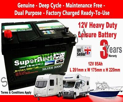 Leisure Battery 12V 85AH SuperBatt CB85 Battery Caravan Motorhome Marine Boat