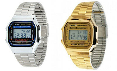 Casio Mens Digital Quartz Alarm Calendar 7Yr Battery Stainless Steel Watch A168W