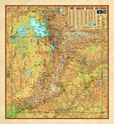 Wide World *UTAH* USA Physical/Political Wall Map (3 Sizes) ...Laminated