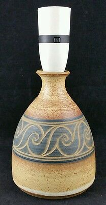 Robert Tarling Studio Pottery Lamp Base, 13.5cm Tall Brown Incised Scroll Design