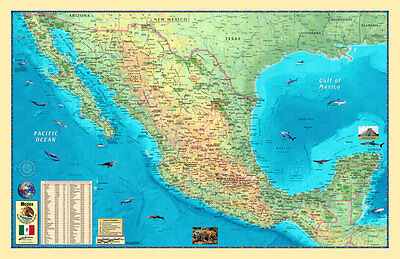 Decorative MEXICO Physical/Political Wall Map (3 Sizes) ...Laminated