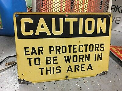 Rare Porcelain Sign Industrial Factory Ear Safety