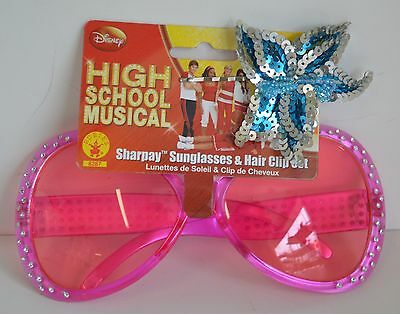 High School MUSICAL Sharpay Pink Sun Glasses Blue Hairclip HSM Costume Collect