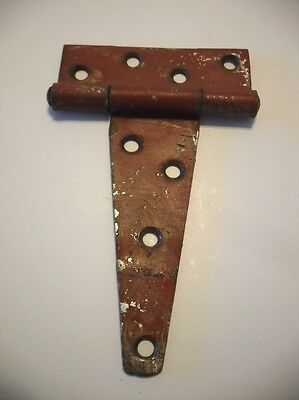 1 Single Vintage Heavy T-STRAP STEEL Gate HINGE Red Chippy Finish FLUSH Mount