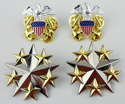 Set Us Navy Six Star Rank Insignia Badge Pin Eagle Badge