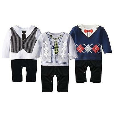 Toddler Baby Boy Gentleman Long Sleeve Romper Jumpsuit Bodysuit Clothes Outfits