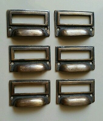 "6 tarnished brass File Apothecary drawer pull Handles 2 3/4"" Label holders #F1"