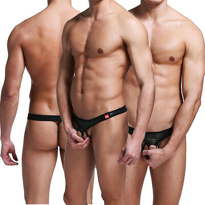 Sexy Men's Pouch Underpants PU Leather Bikini Brief G-string Underwear Thong SML