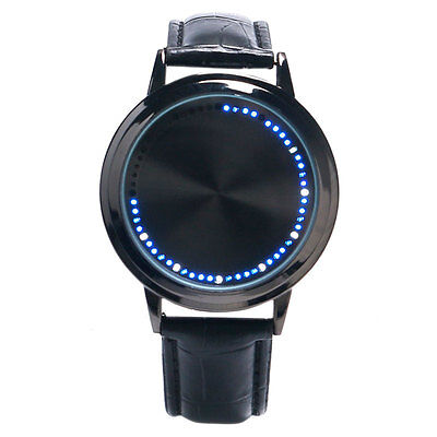 Unisex Cool Simple Black/White Touch Screen LED Wrist Watch Leather Band