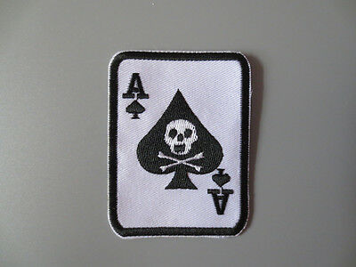 Embroidery  Patches Badge Iron On Poker spade A Skull 7.5cm *5.8cm
