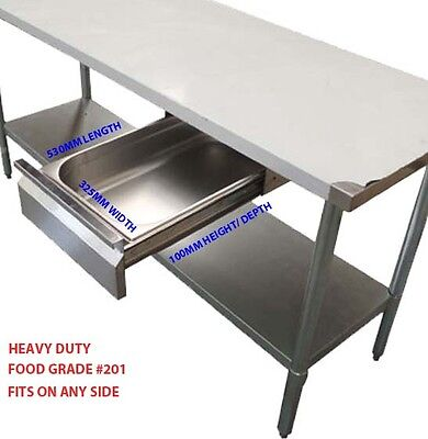 NEW UNIVERSAL DRAWER STAINLESS STEEL WITH GASTRONORM TRAY FOOD GRADE 100mm DEEP