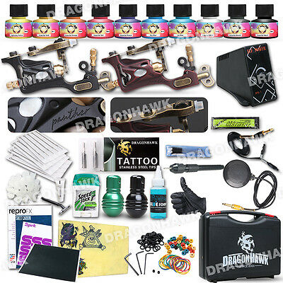 Professional Complete Tattoo Kit 2 Top Rotary Machine Gun 10 Color Ink 50Needles