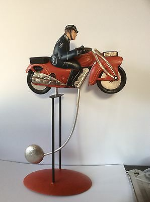 Vintage Motorbike Nodder In Red, Large Tin Plate Model. Great Gift.