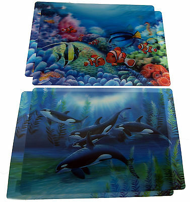 Set Of 4 Holographic 3D Dinner Place Mat - Orca Whales / Tropical Fish